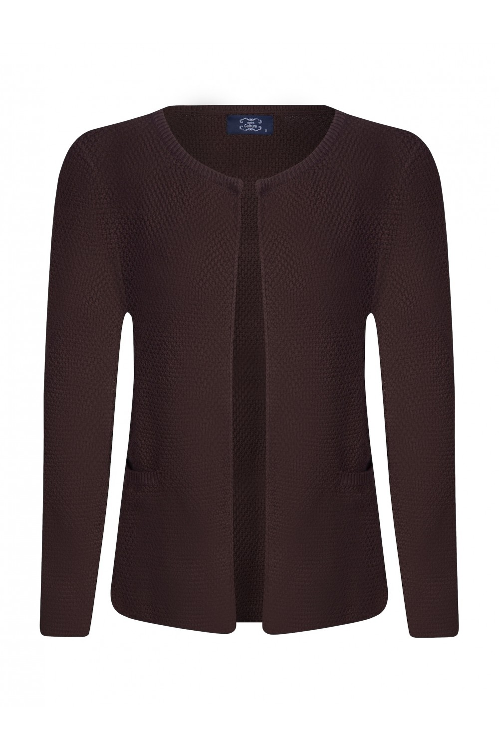 Women's Cardigan Hook Crew Neck Brown