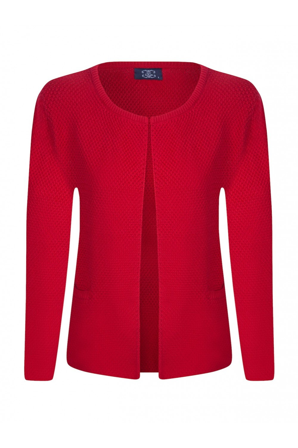 Women's Cardigan Hook Crew Neck Red