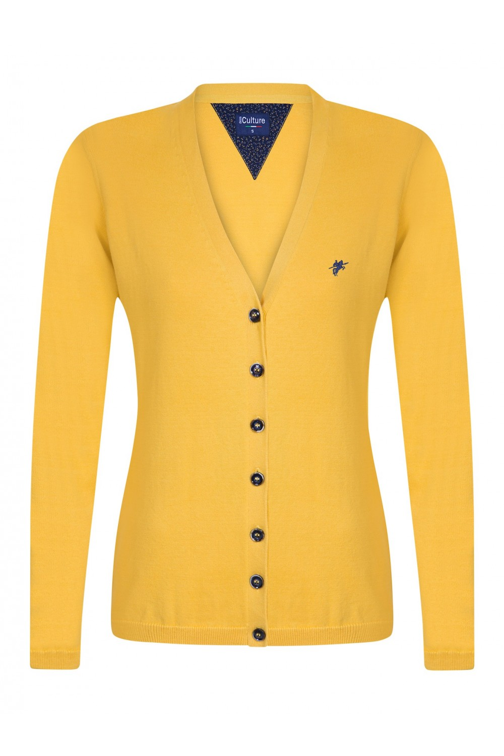 Women's Cardigan Button V-neck Yellow