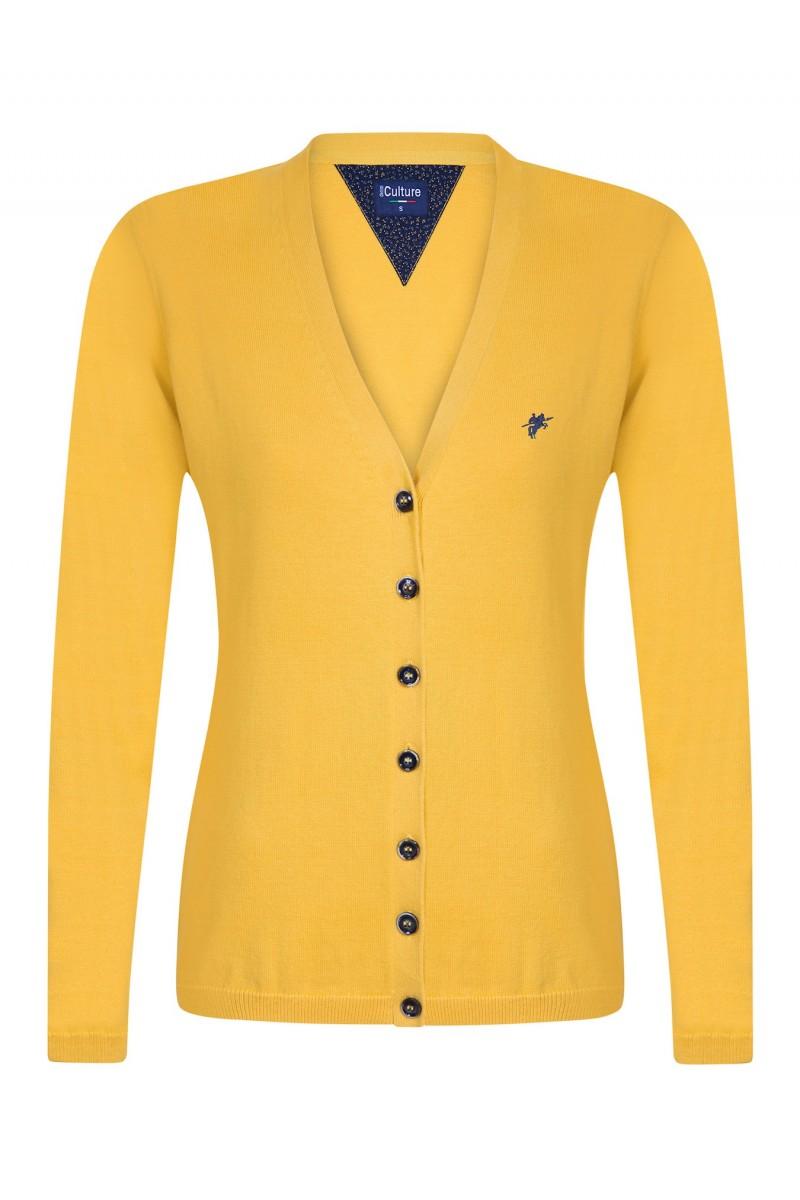 Women's Cardigan Button V-neck Yellow
