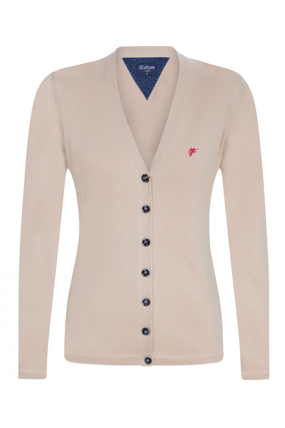 Women's Cardigan Button V-neck Heather Beige