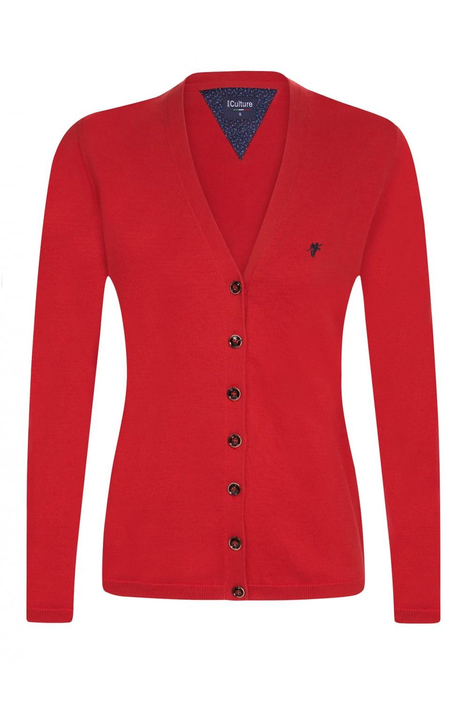 Damen Strickjacke mit Knopf V-Ausschnitt CORAL
