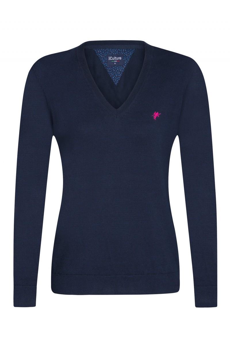 Baumwoll Pullover V-Ausschnitt NAVY für Damen