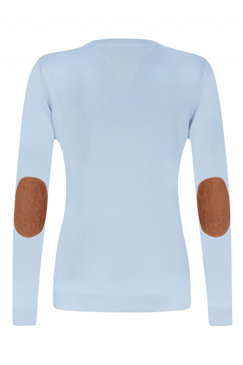 Baumwoll Pullover V-Ausschnitt BLAU für Damen