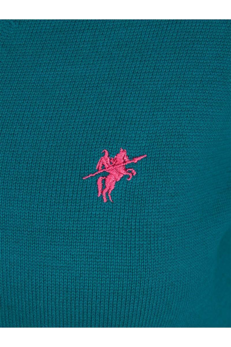 Baumwoll Pullover V-Ausschnitt GRUN für Damen