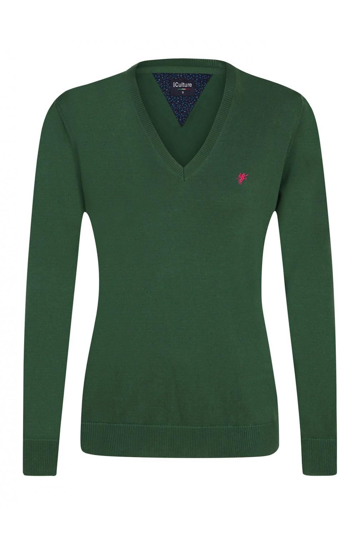 Baumwoll Pullover V-Ausschnitt KHAKI für Damen