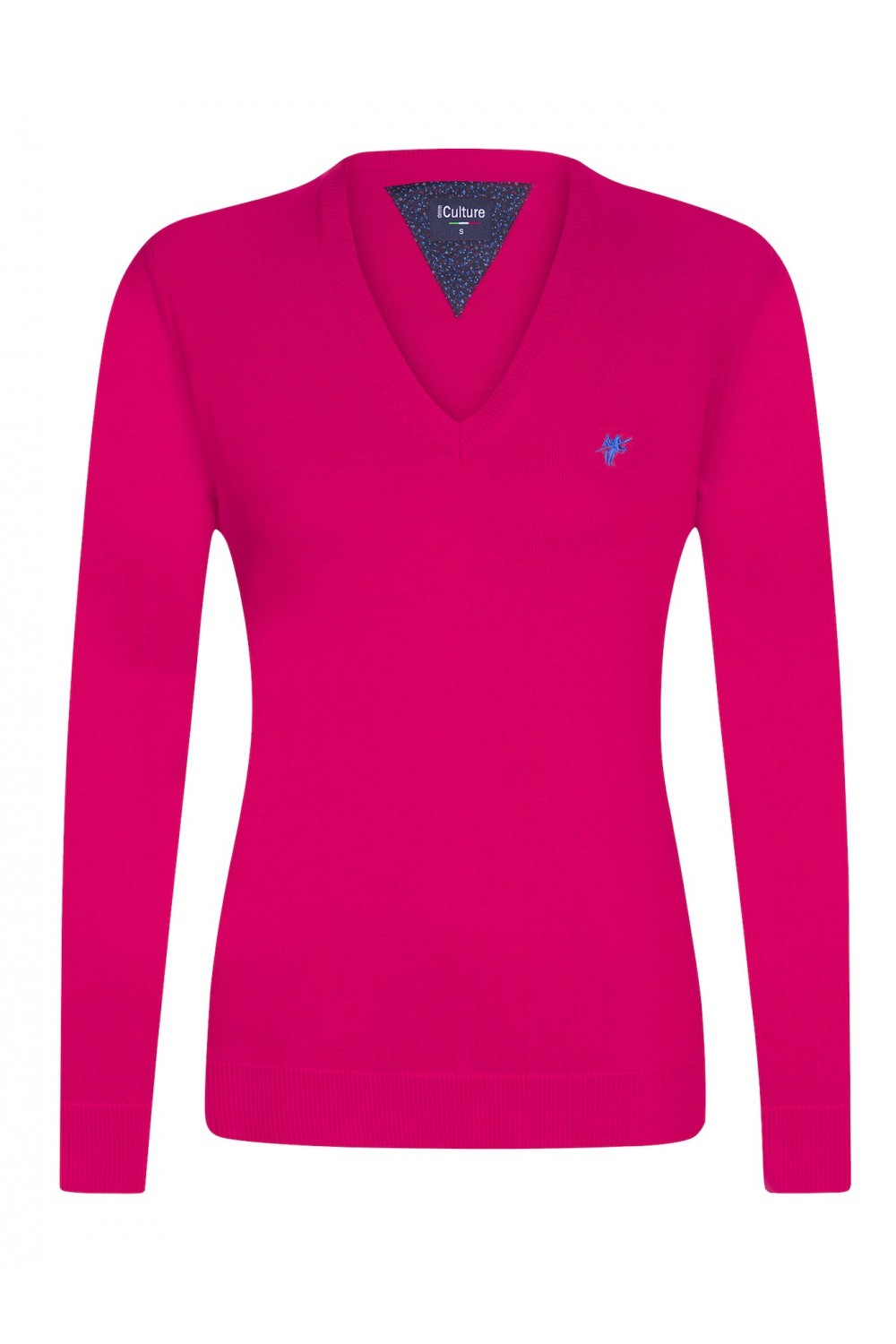 Women's Pullover  V-neck D.Pink Cotton