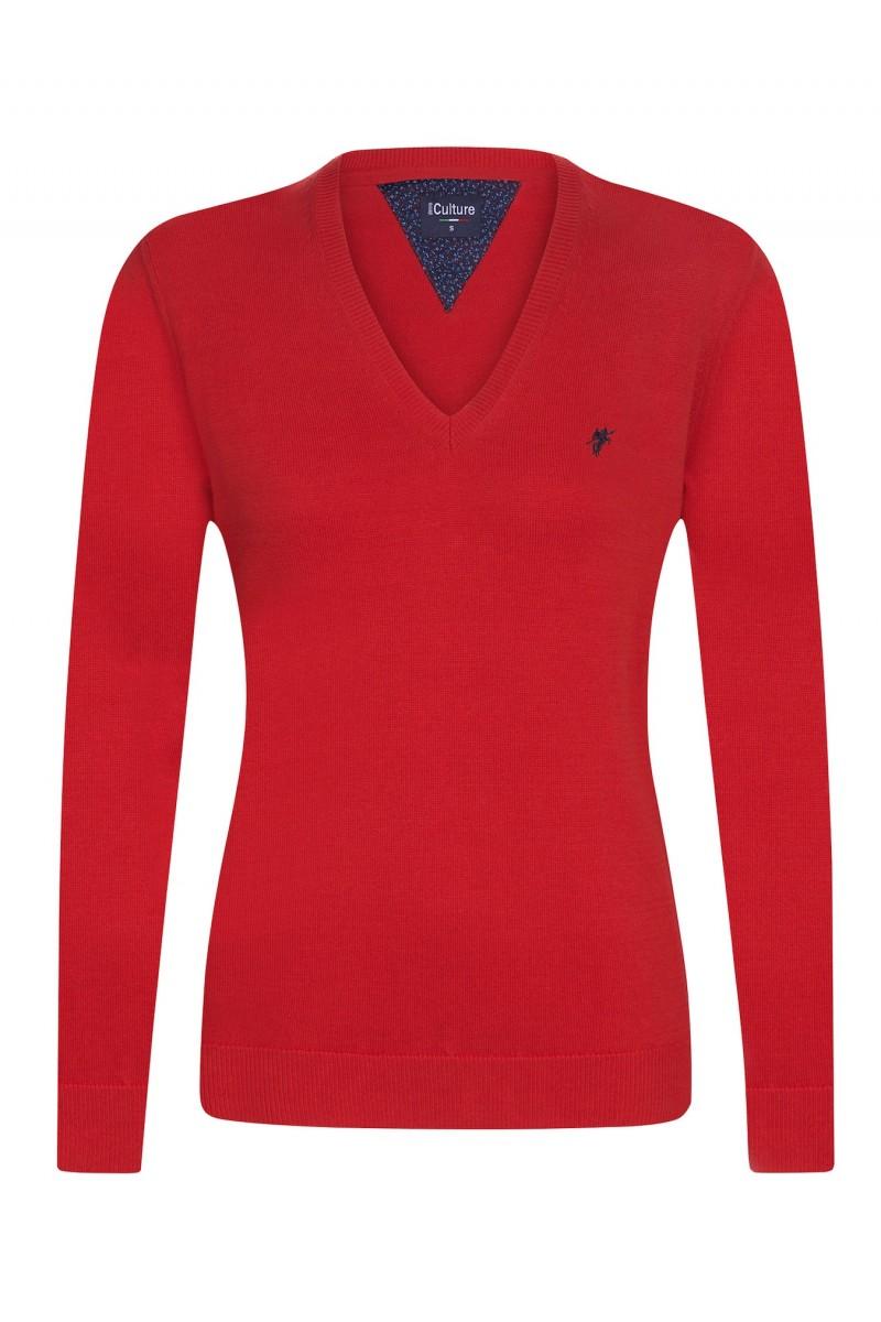 Baumwoll Pullover V-Ausschnitt CORAL für Damen