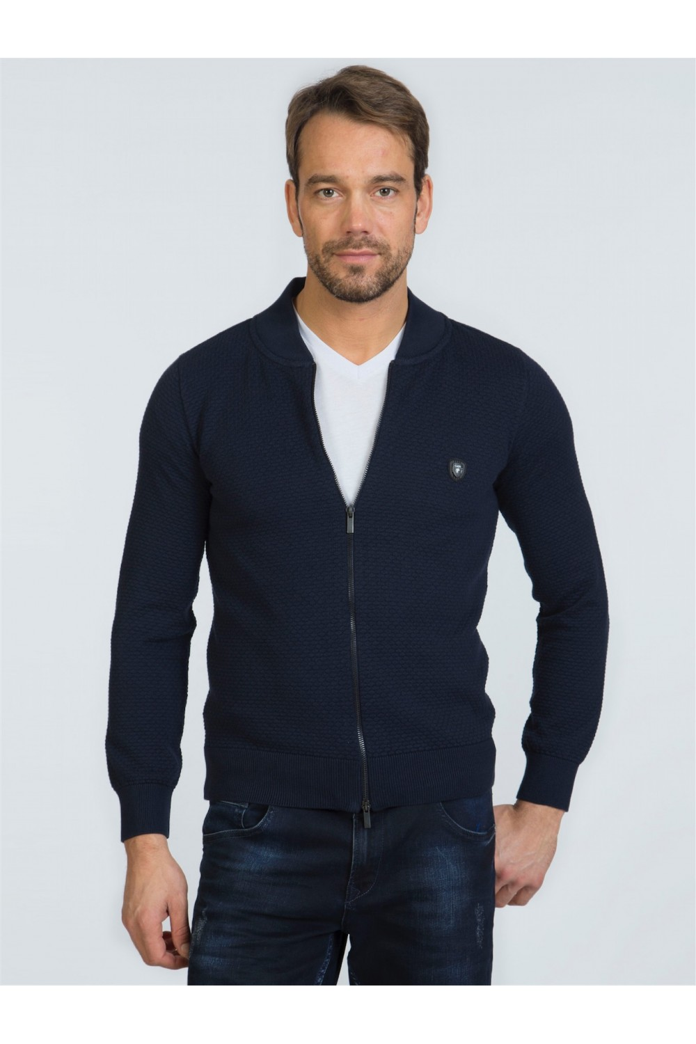 Men's Pullover  Standing Collar Navy Cotton