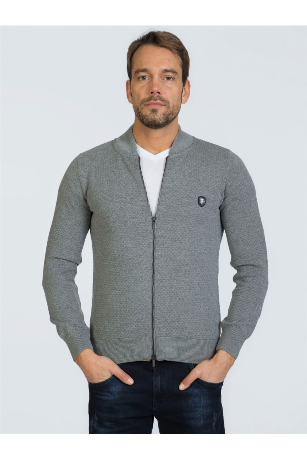 Men's Pullover  Standing Collar Heather Gray Cotton