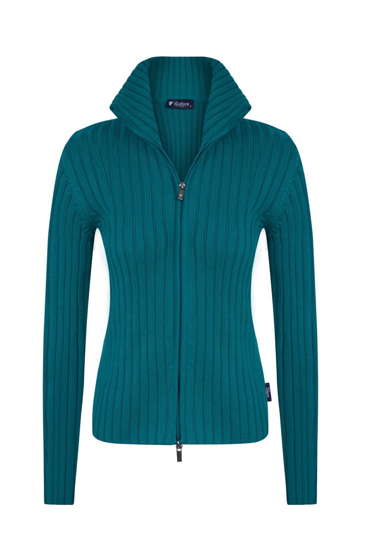 Baumwoll Pullover Stehkragen GRUN für Damen