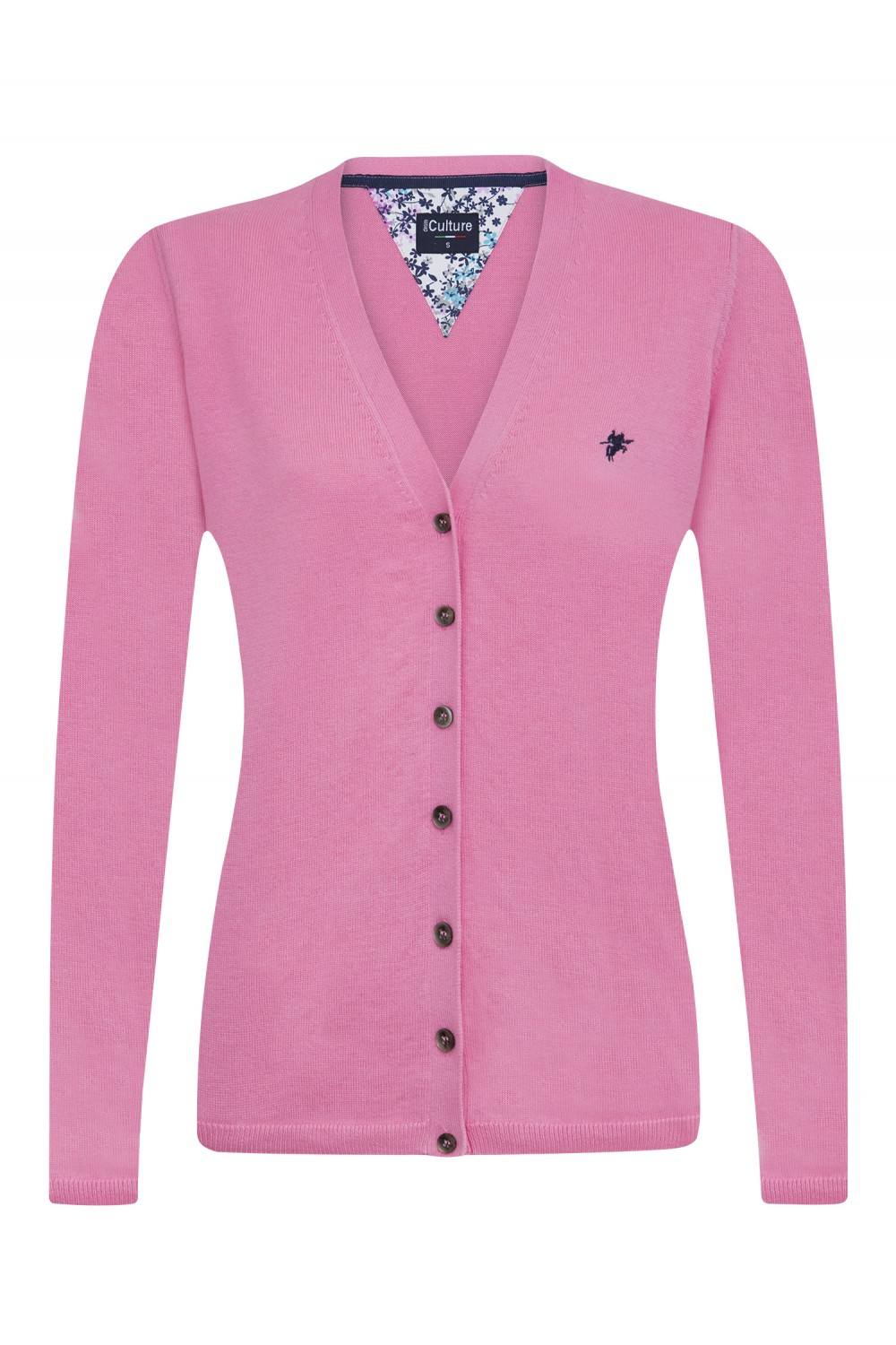 Women's Cardigan Button V-neck Dark Pink