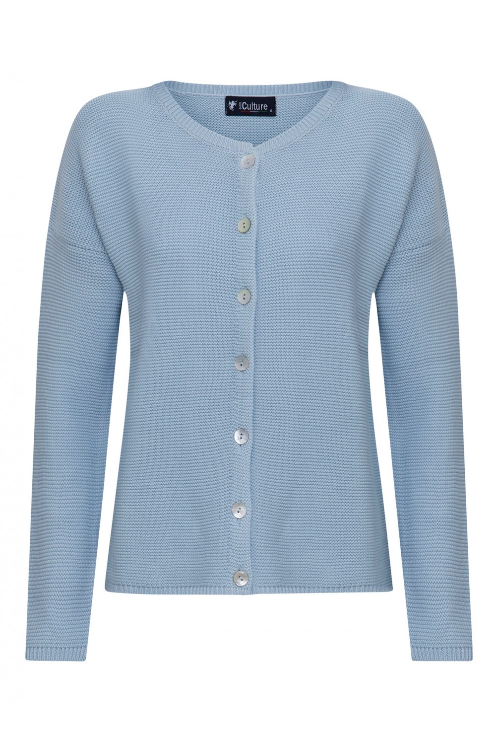 Women's Cardigan Button Crew Neck Blue