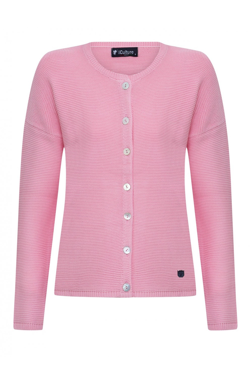 Women's Cardigan Button Crew Neck Pink