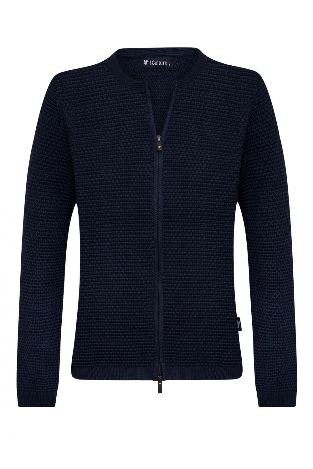 Women's Cardigan Zip Crew Neck Navy
