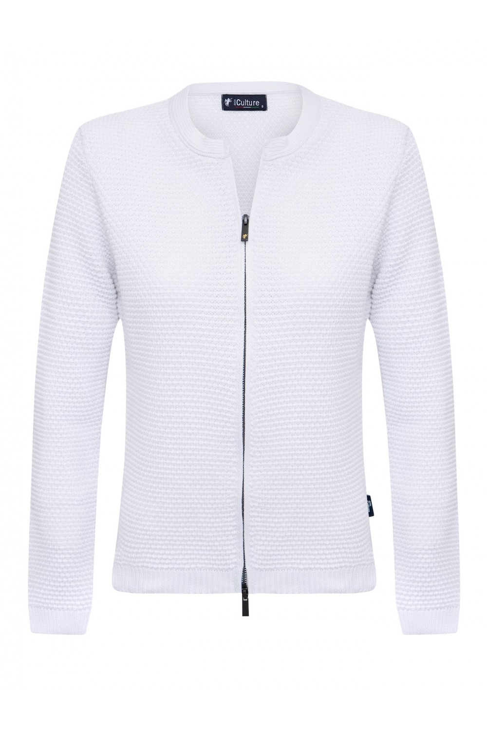 Women's Cardigan Zip Crew Neck White