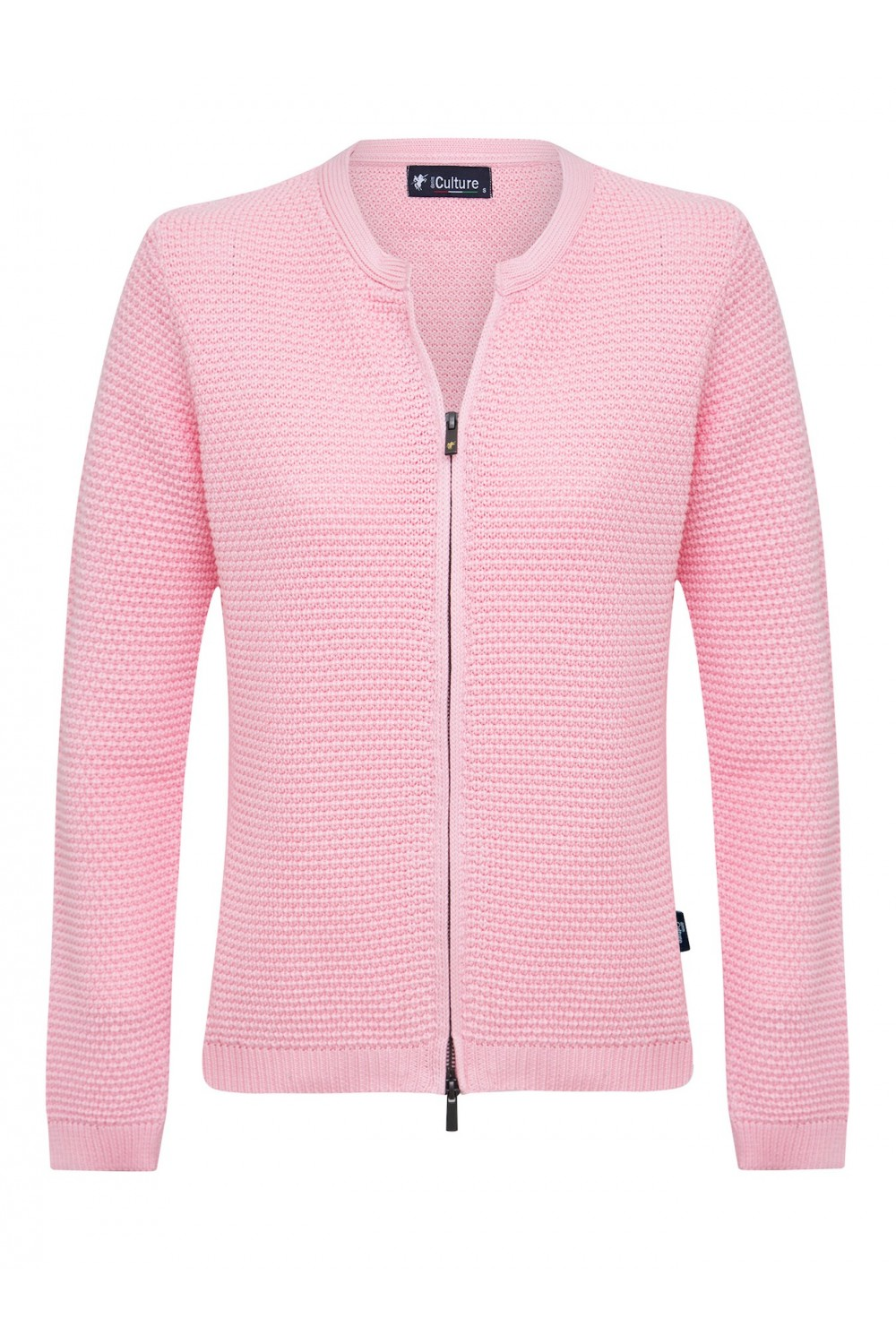 Women's Cardigan Zip Crew Neck Pink