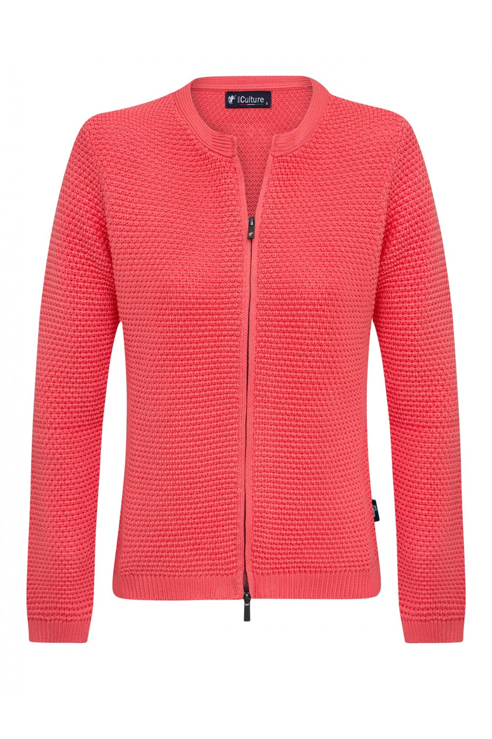 Women's Cardigan Zip Crew Neck Coral