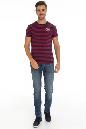 Herren T-Shirt Rundhals NAVY/BORDOAUX Baumwoll