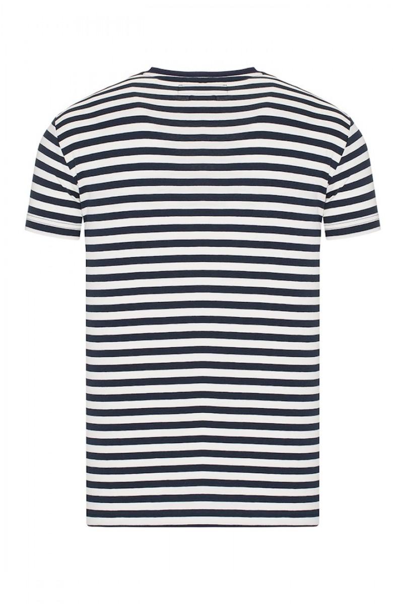 Herren T-Shirt Rundhals NAVY/ECRU Baumwoll