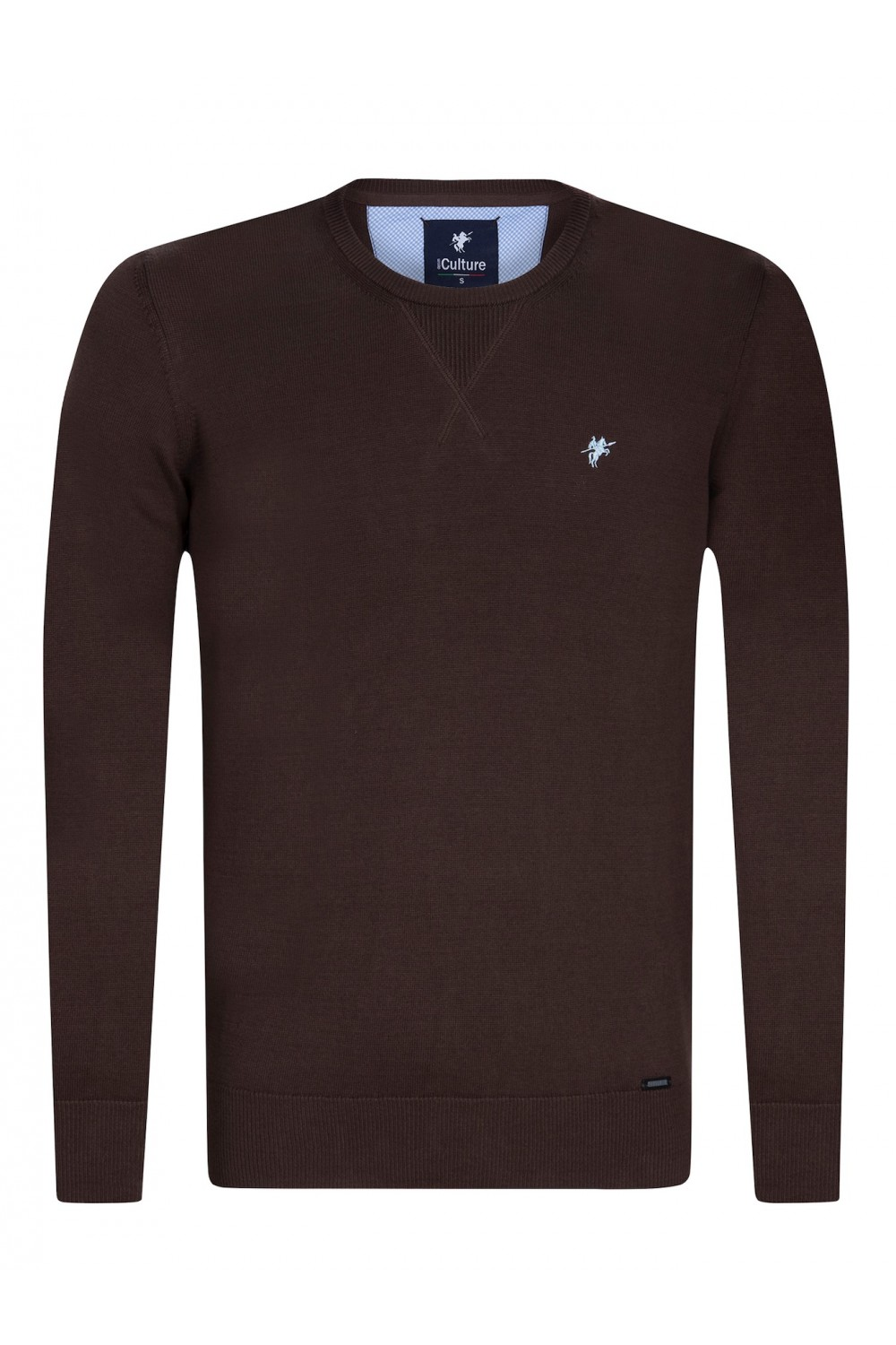 Men's Pullover  Crew Neck Brown Cotton