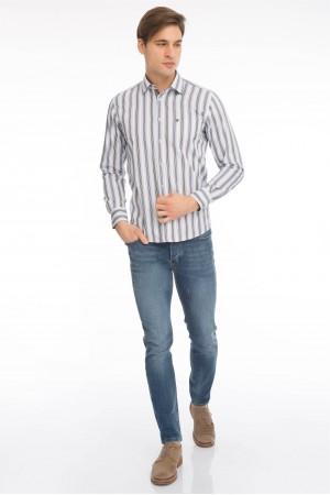 Men's Shirt Kent Collar Brown Striped