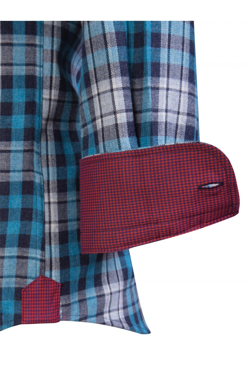 Men's Shirt Button Down Turquoise Checked
