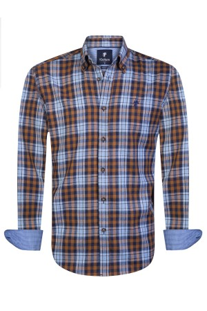 Herren Hemd Button Down Langarm SENF