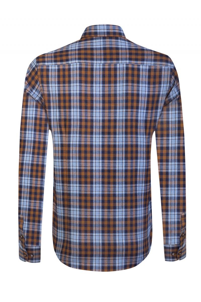 Men's Shirt Button Down Mustard Checked