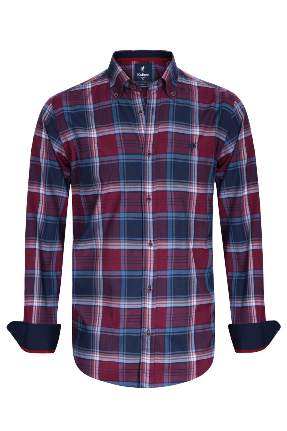 Men's Shirt Button Down Red Checked