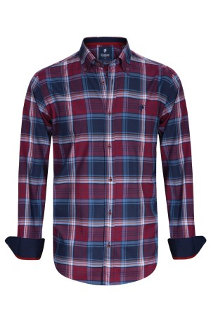 Herren Hemden Button Down Langarm ROT