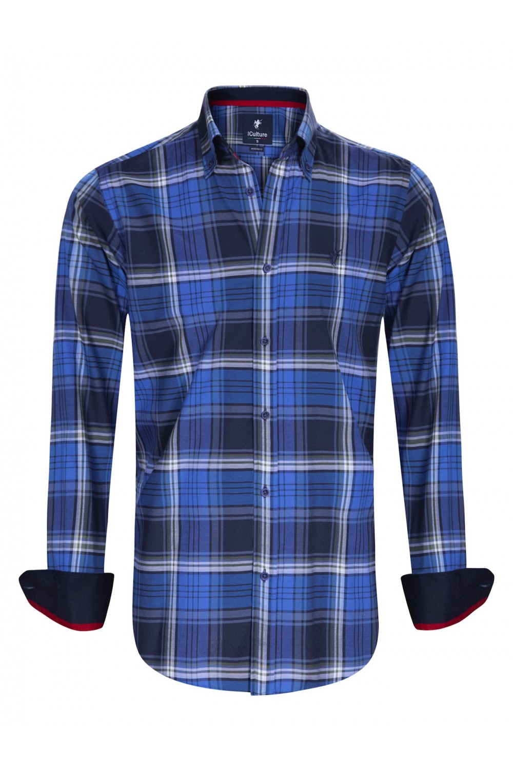 Men's Shirt Button Down Royal Checked