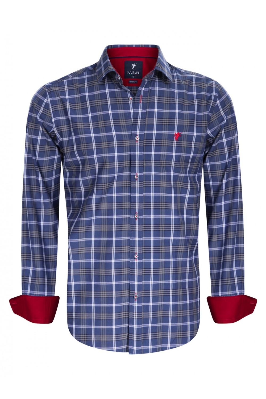 Men's Shirt Kent Collar Grey Checked