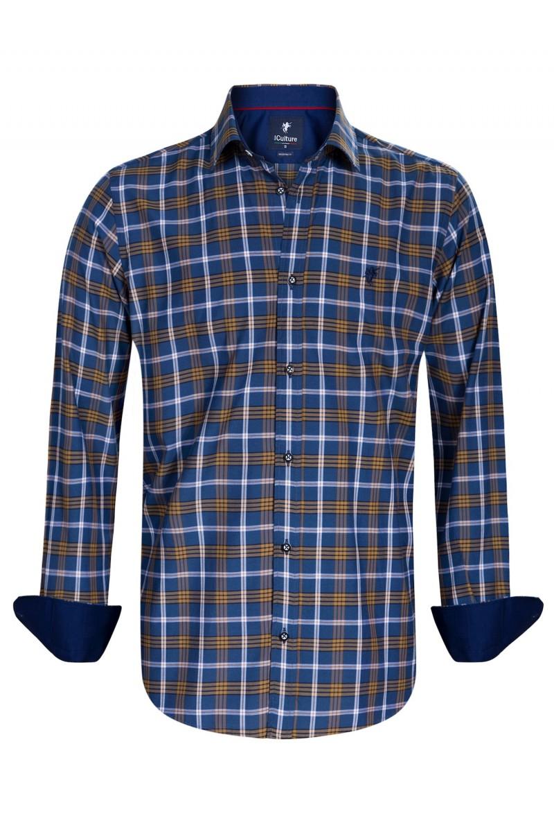 Men's Shirt Kent Collar Mustard Checked