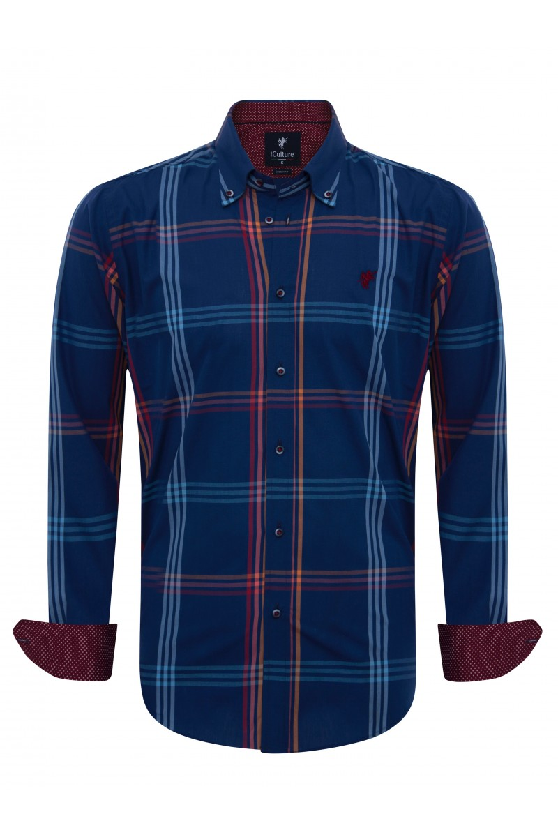 Men Shirt mit Kariert Button Down ROT