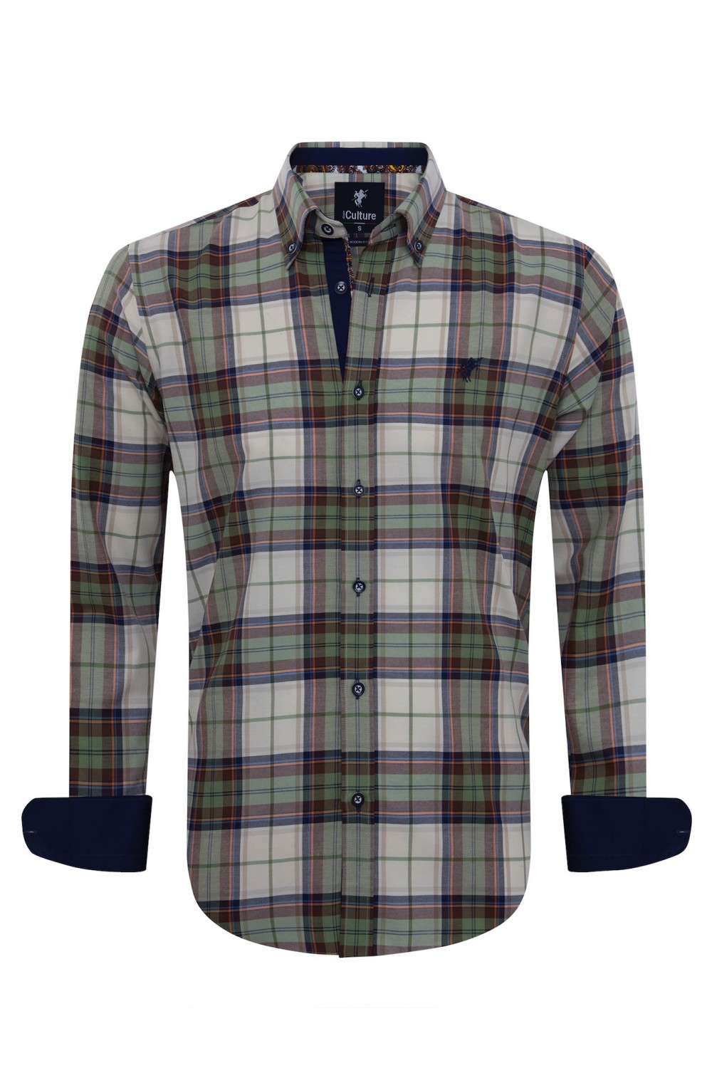 Men Shirt mit Kariert Button Down GRUN
