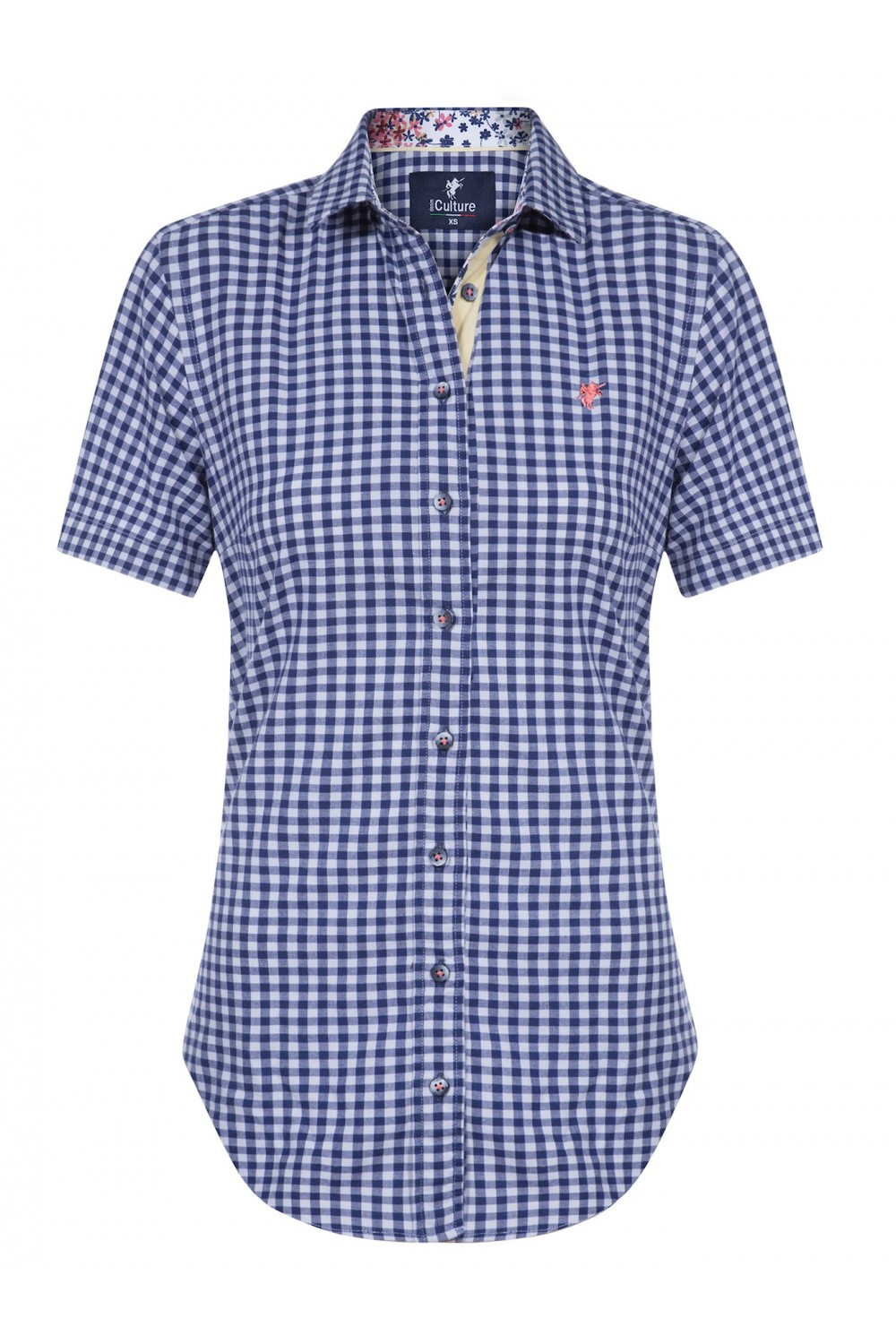Women's Blouse Navy Checked Cotton