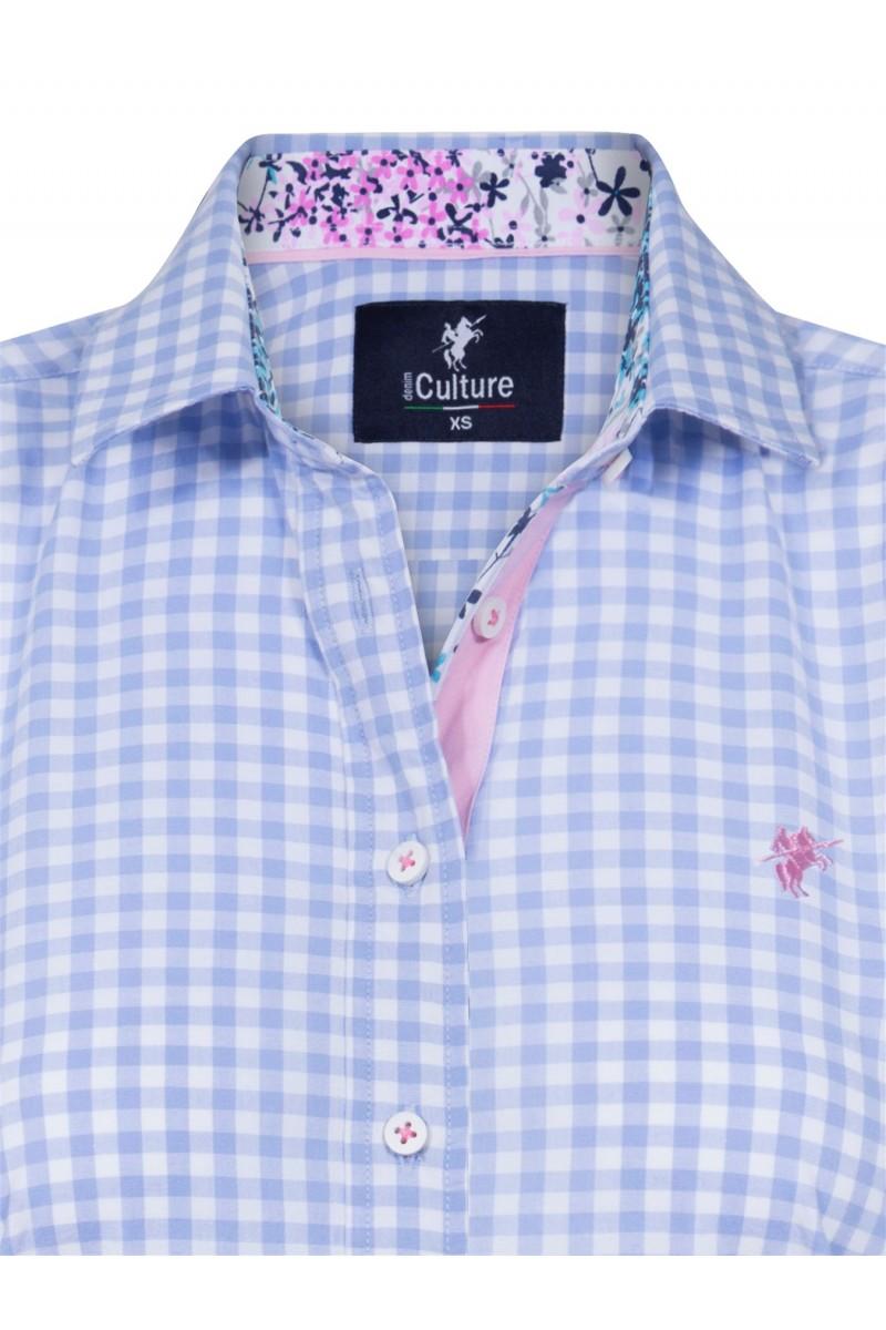 Damen Blusen Hemden BLAU Kariert Baumwolle