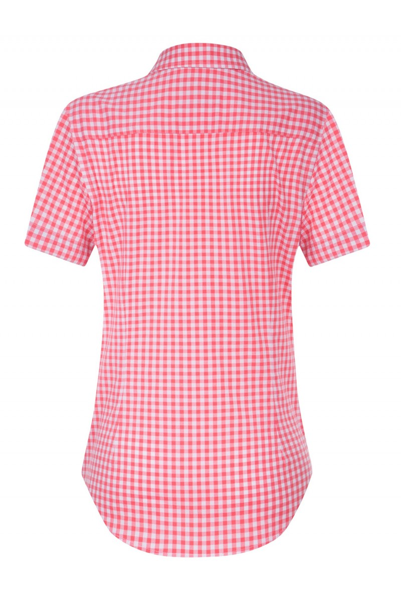 Women's Blouse Coral Checked Cotton
