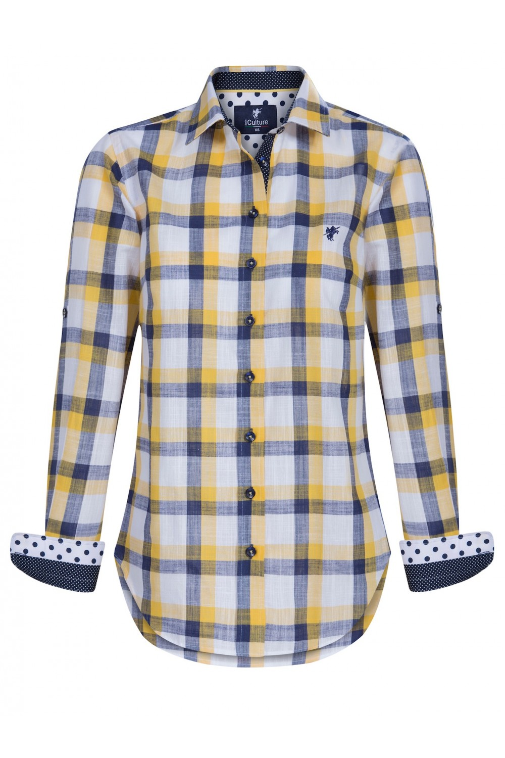 Women's Blouse Yellow Checked Cotton
