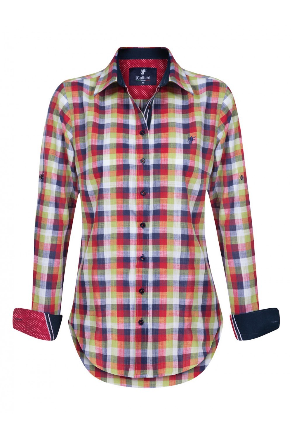 Women's Blouse Red Checked Cotton