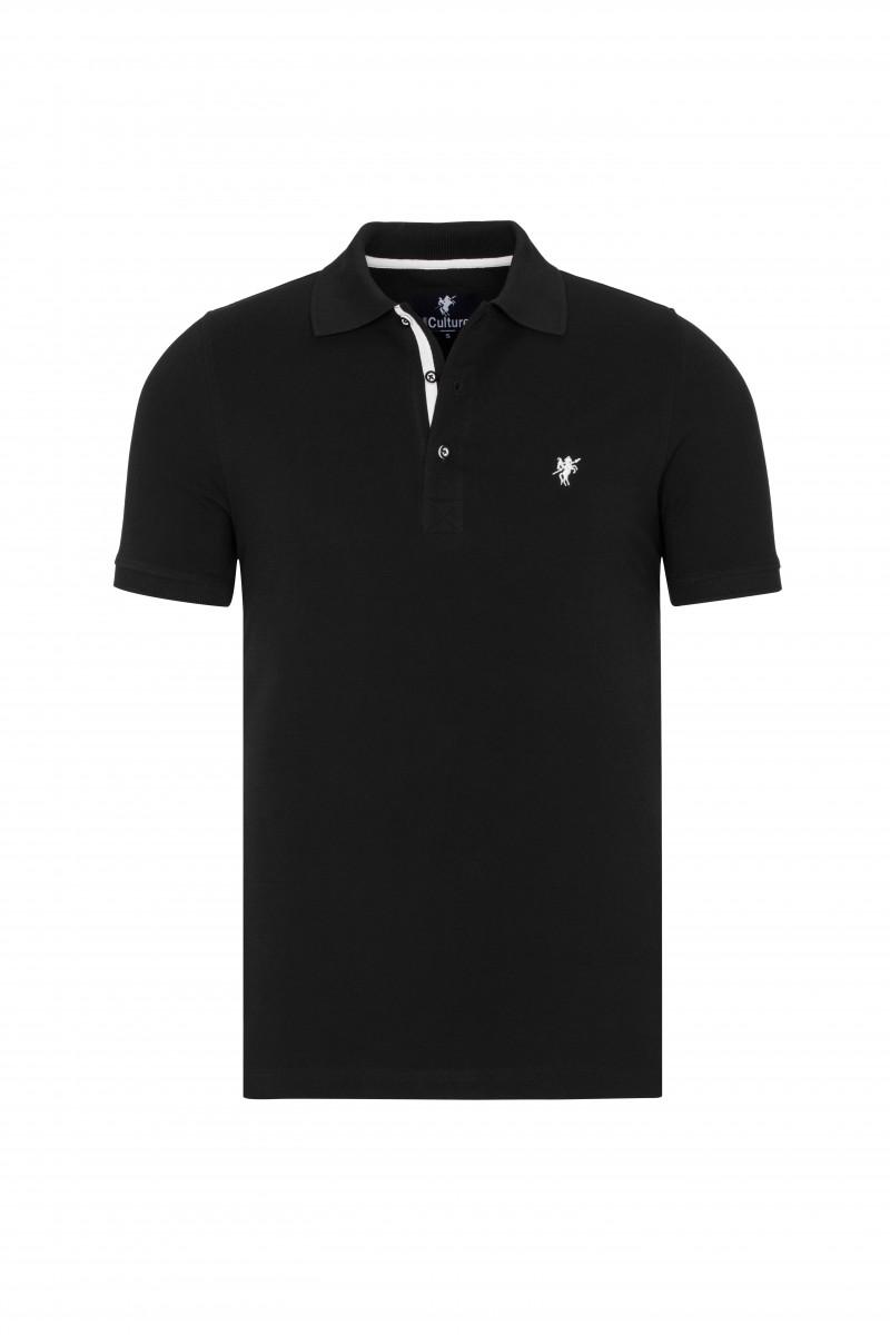 Baumwoll Poloshirt Kurzarm BLACK für Herren