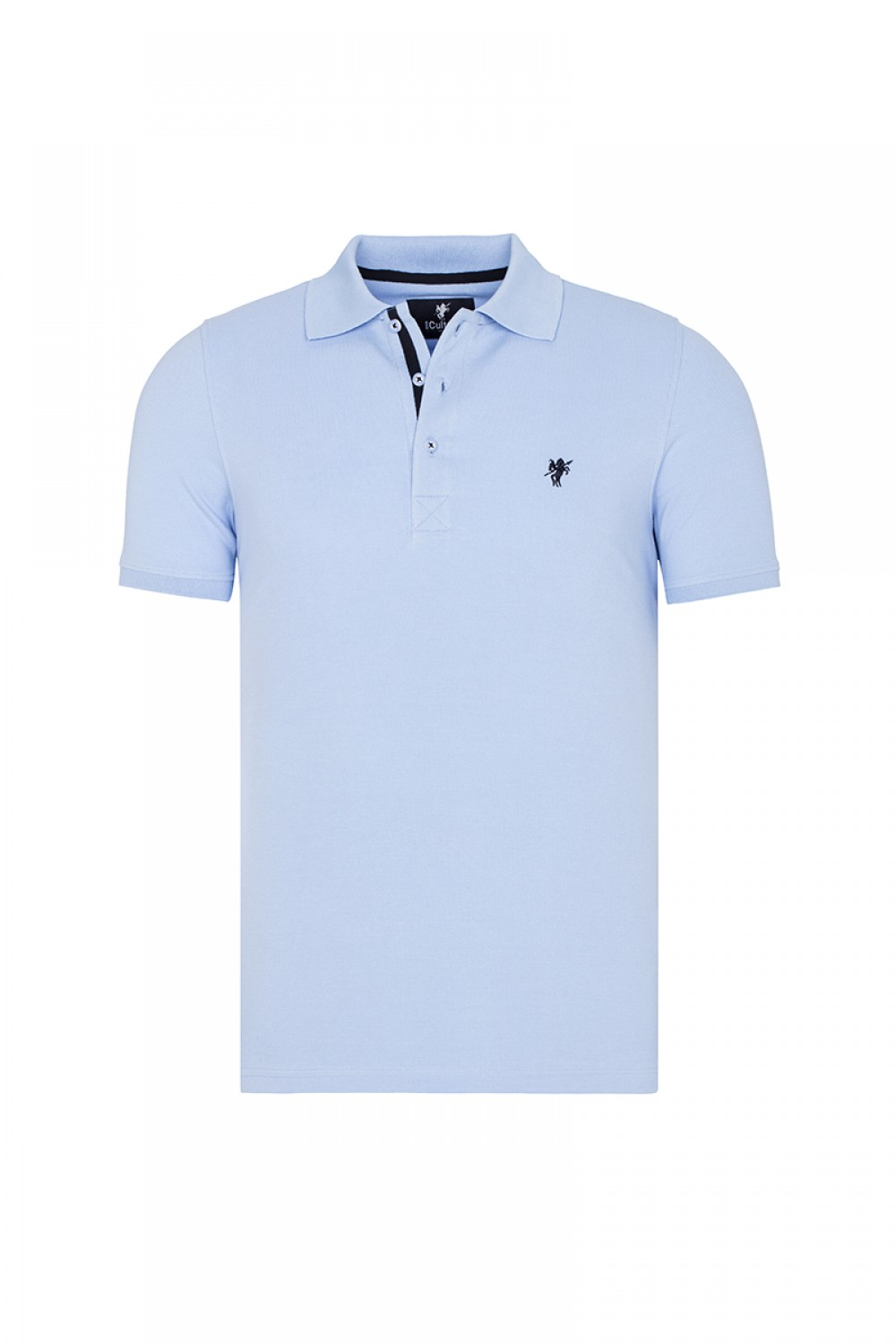 Men's Poloshirt Knitted Blue Cotton