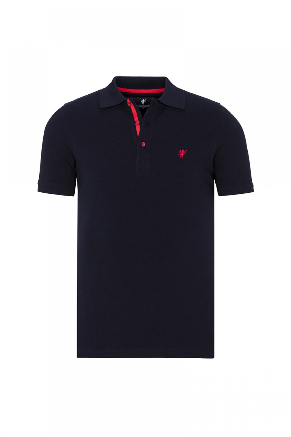 Men's Poloshirt Knitted Navy-Red Cotton
