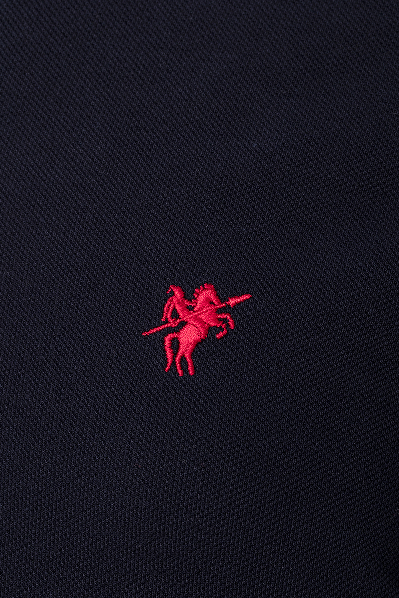 Baumwoll Poloshirt Kurzarm NAVY-ROT für Herren