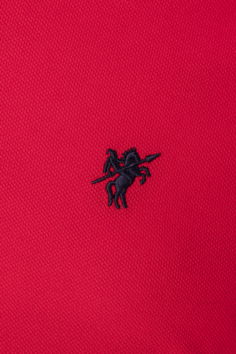 Men's Poloshirt Knitted Red Cotton