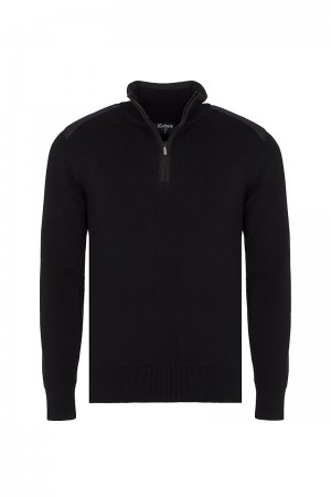 Men's Pullover  Standing Collar Black Cotton