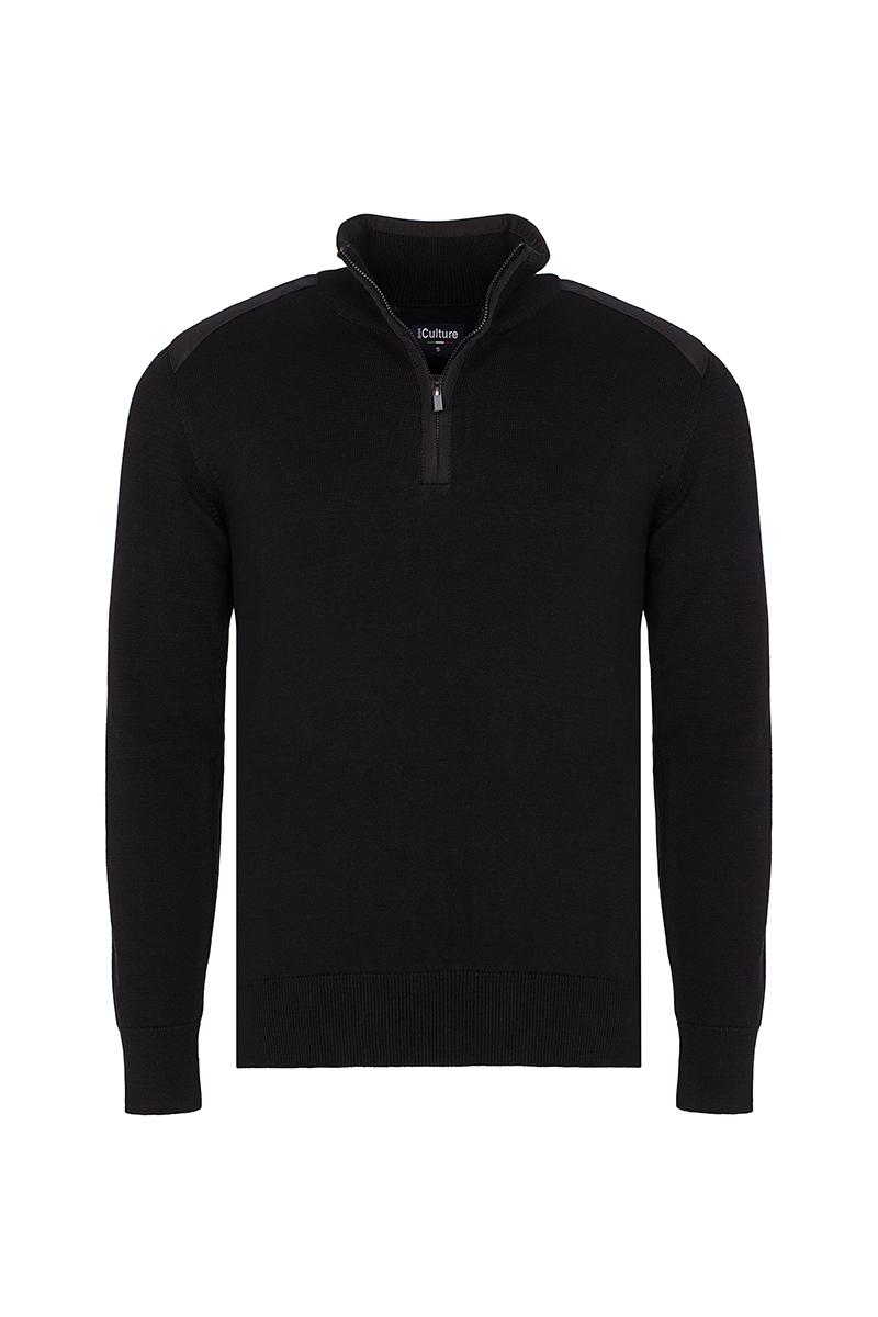 Baumwoll Pullover Stehkragen BLACK für Herren