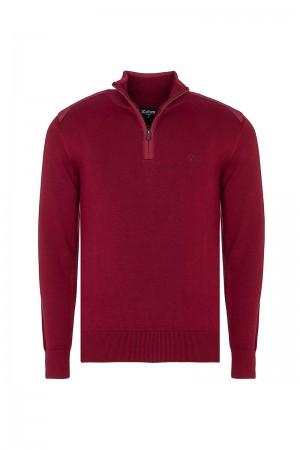 Men's Pullover  Standing Collar Bordeaux Cotton