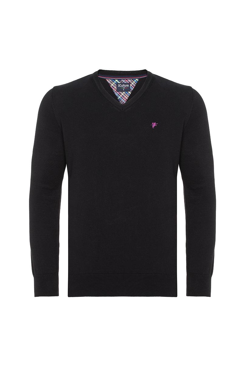 Baumwoll Pullover V-Ausschnitt BLACK für Herren